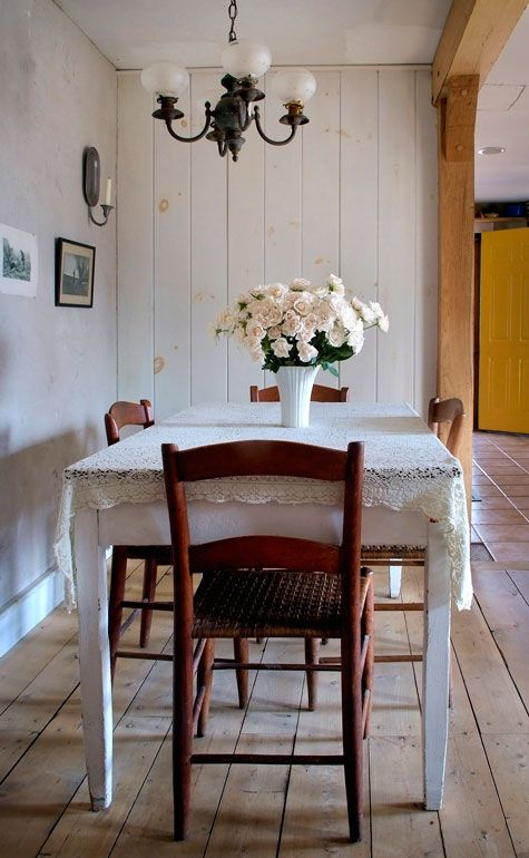 I love country farm tables with mismatched chairs!