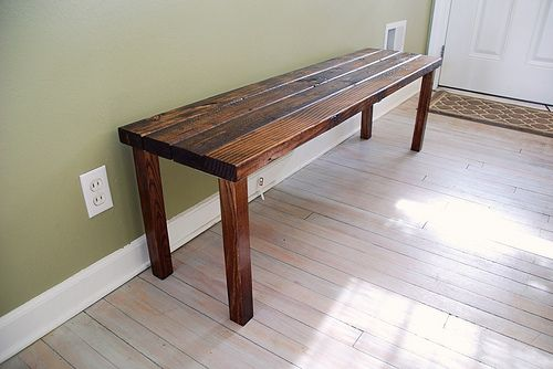 Super easy bench narrow table things to make pinterest Narrow entry bench