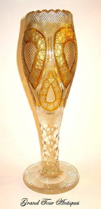 Мозер Четкие и Янтарный золота эмалированное стекло Ваза рифленая, артистический