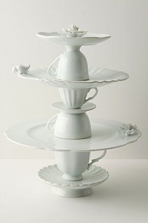 Tea Service Cookie Stand: elegantly made from stacked porcelain cups and plates