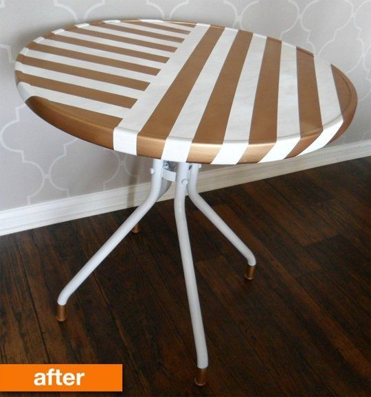 before after a plain glass patio table goes bold