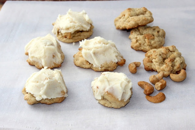 hint of honey: Salted Cashew Cookies with Brown Butter Frosting