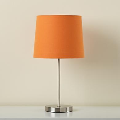 light years orange table shade and nickel base. Black Bedroom Furniture Sets. Home Design Ideas