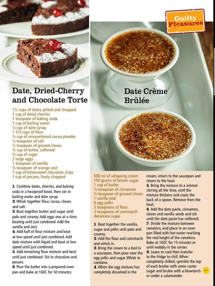 Date, dried Cherry & Chocolate Torte - Date Creme Brûlée