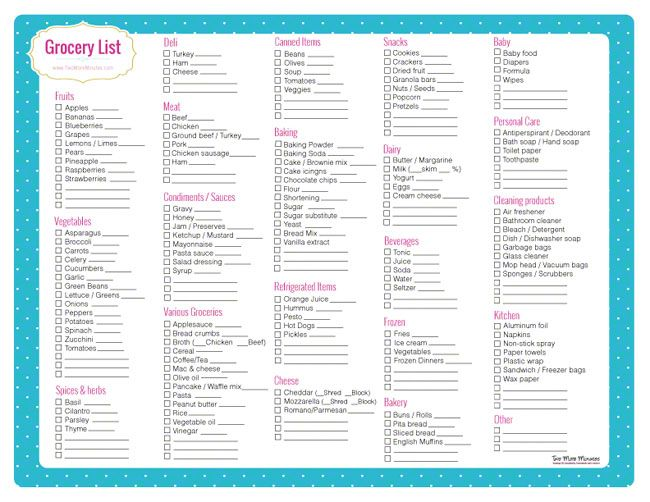 Grocery List Template Printable With Categories | Calendar Template ...