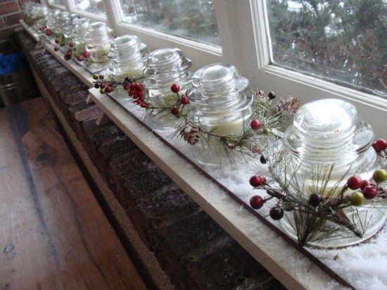 Insulators window sill decor with lights projects i - Christmas window sill lights ...