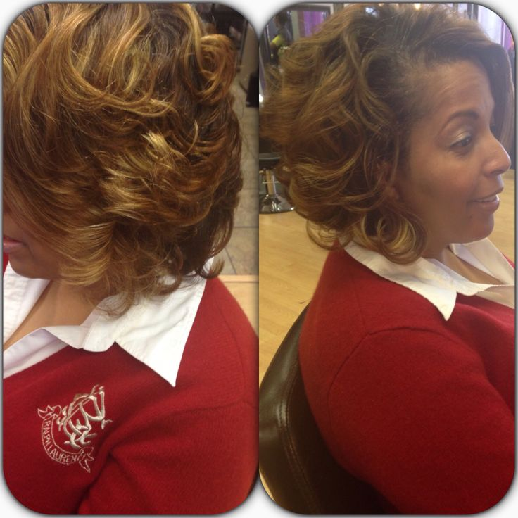 Bob Hair cut with high and low lights. By Tammy