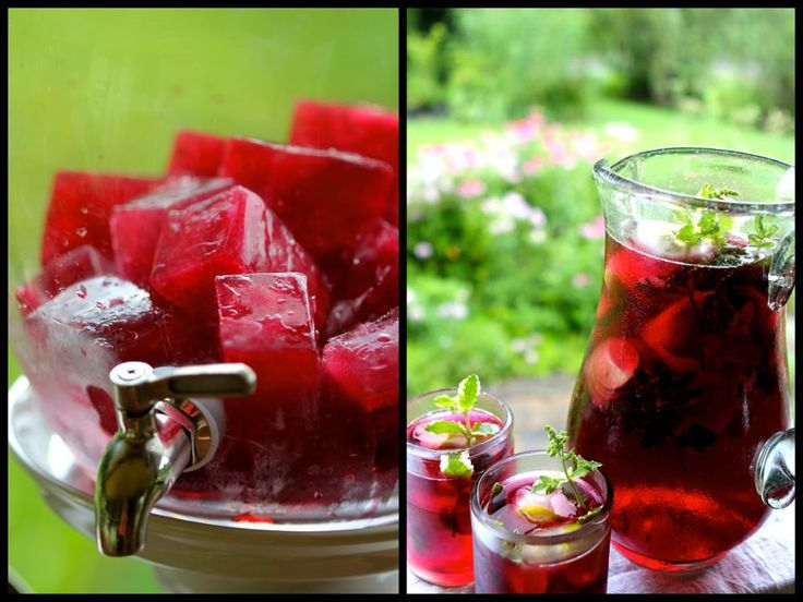 HIbiscus tea and hibiscus ice cubes - great idea!