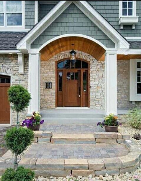 Portico make a grand entrance pinterest for Exterior front entry design ideas