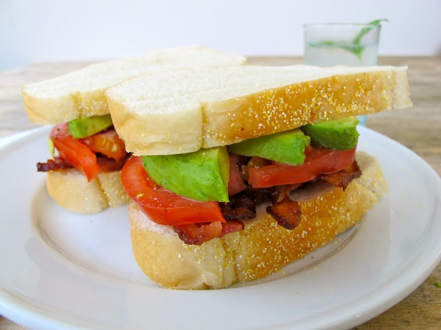 Bacon, Avocado, and Tomato Sandwiches. She recommends serving with a ...