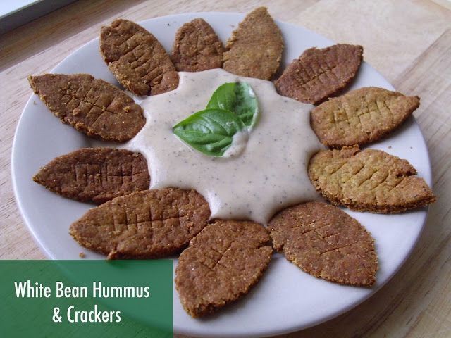 White Bean Basil Hummus & Vegan Whole Wheat Crackers
