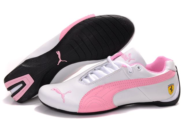 white and pink work out shoes