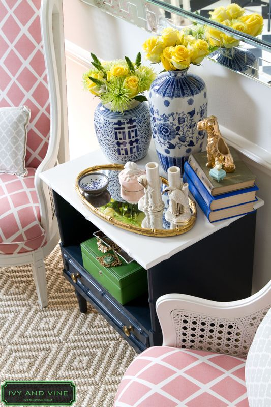 Navy, pink, white and Chinoiserie ...