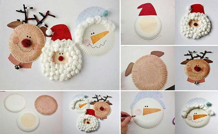Decoraci n navide a con platos de papel navidad - Decoracion de platos ...