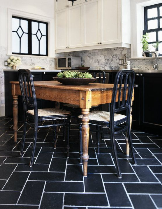 Suzie: Tommy Smythe  white & black farmhouse kitchen design with rustic farmhouse dining table, ...