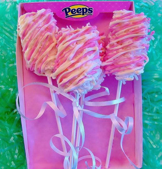 Chocolate Covered PEEPS® MARSHMALLOW POPS Dipped in Coconut***Spring ...