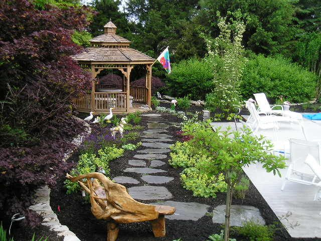 Mulch And Stone Pathway To Gazebo Hypertufa Concrete