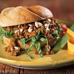 The ever-so-popular Sloppy Joe sandwich takes on a Greek flair with your choice of beef or lamb, bulgur, and feta cheese.