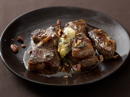 Strip Steak with Blue-Cheese Butter and Toasted Pecans...oh, wow, all ...