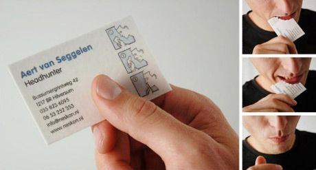 Get rid of the evidence you ever met the headhunter. Edible #BusinessCard! #design #printing