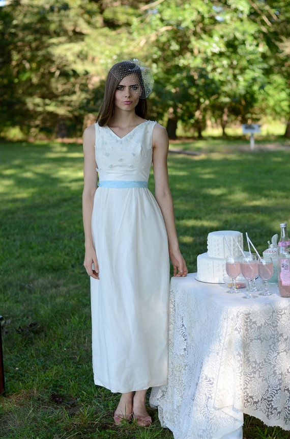 S vintage wedding dress long blue white by sweetnsourvintage