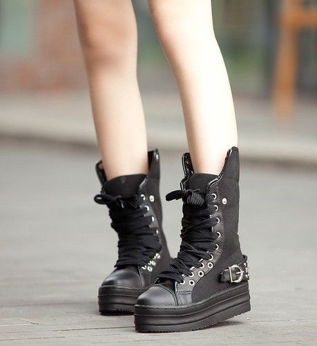 Spike Stud Punk Goth Creeper Shoes Womens Platform Mid Calf Boot Lace
