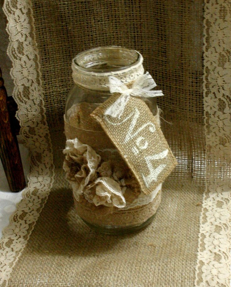 Burlap wedding FLOWER vase ViNTAGE LACE candle by Bannerbanquet, $19.50
