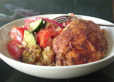... 130: Spice rubbed Roast Chicken stuffed with Falafel and Greek Salad
