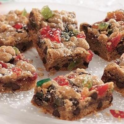 Chocolate Chip Fruitcake Bars | cookie monster | Pinterest