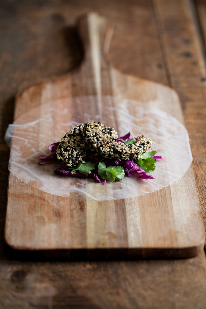 Sesame Crusted Avocado and Cabbage Spring Rolls | Recipe