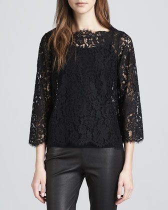 Joie Elvia Scalloped Lace Blouse 42