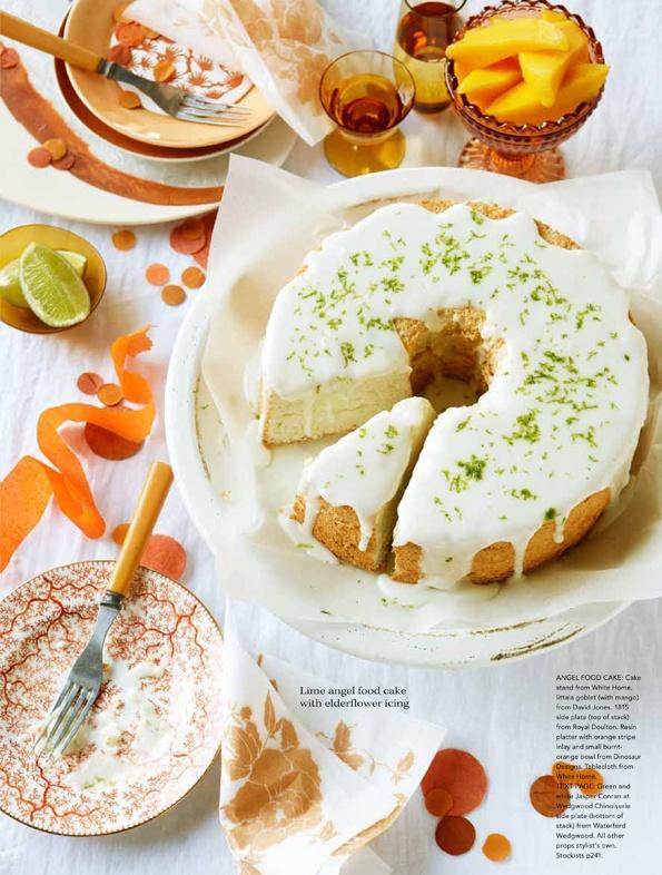 lime angel food cake with elderflower icing