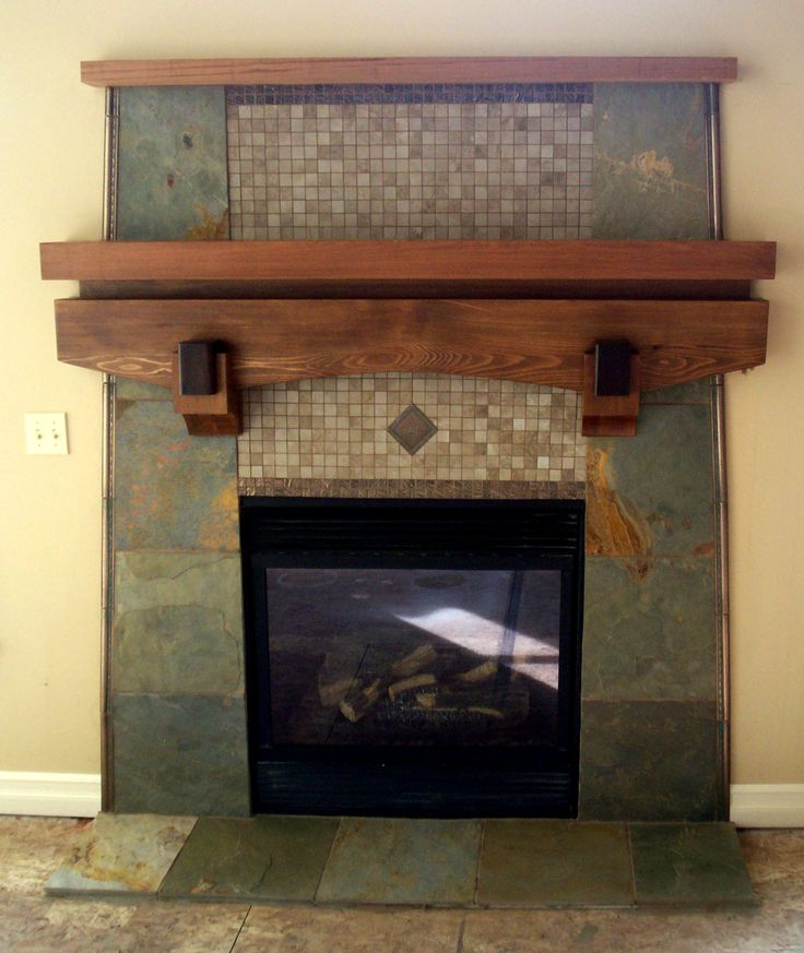 Custom Slate Fireplace With Cedar Mantel Fireplaces Pinterest