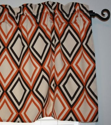 Lined valance curtain mod orange brown geometric - Orange and brown curtains ...