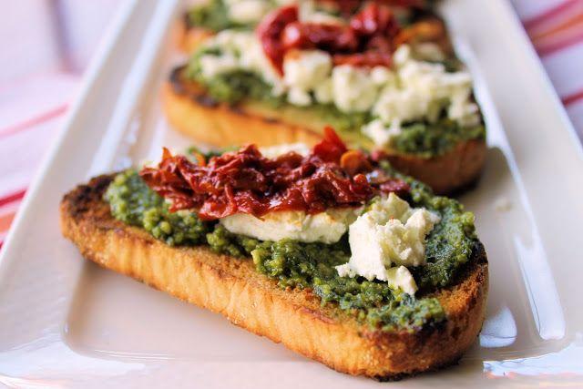 Goat cheese, pesto crostini   Food/desserts   Pinterest