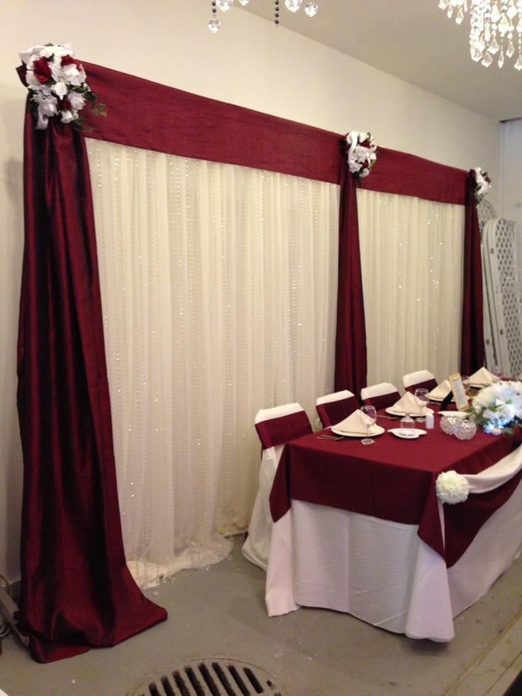 Burgundy and ivory backdrop | Wedding Ideas | Pinterest