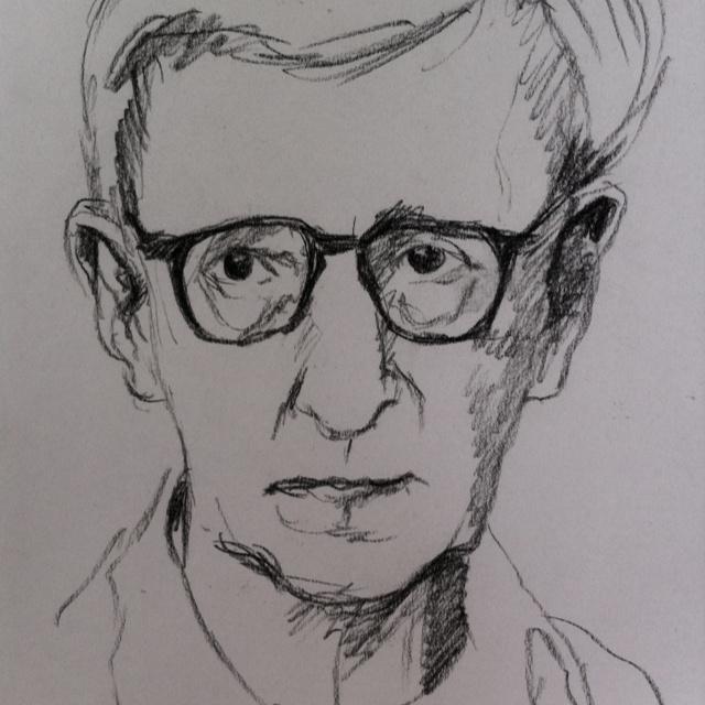 Woody Allen - Original Watercolor Portrait Study on Paper - 4.9x6.8