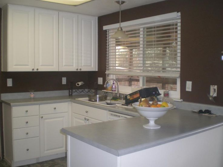 Brown walls and white cabinets kitchen pinterest for Brown kitchen walls white cabinets