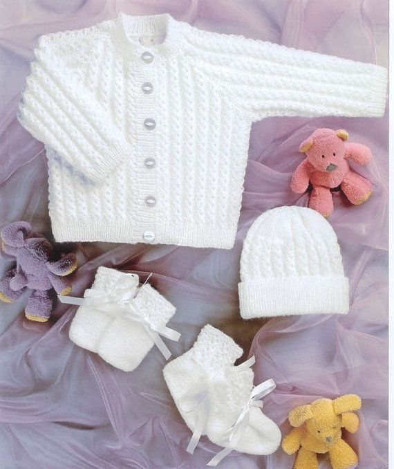 2 Ply Baby Knitting Patterns : Baby knitting pattern Newborn Cardigan hat mittens and booties set 4