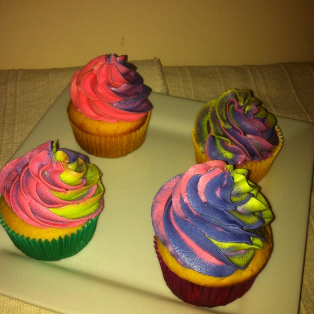 ... Cupcakes with Purple,Pink, & Neon Green Swirled Buttercream Icing