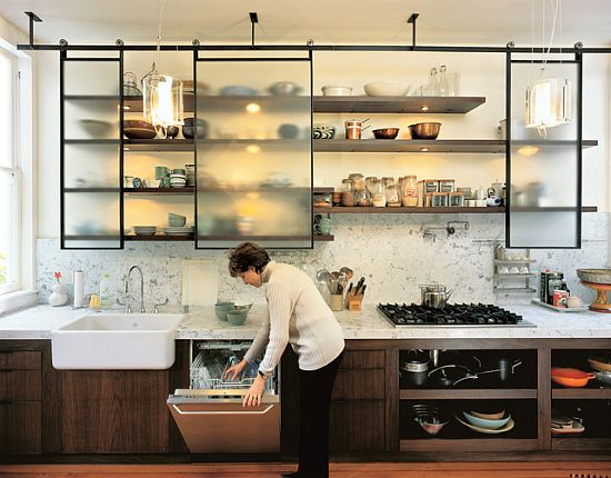 modern spin on open shelving...love countertop:cabinet combo, too