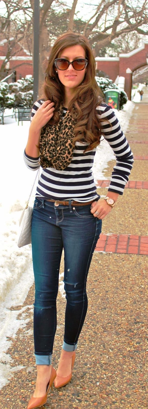 Winter style with stripes and leopard scarf. Id probably wear some nude flats or sandals instead, not a big fan of heels!
