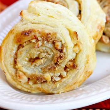 Brown Sugar and Walnut Puff Pastry swirls
