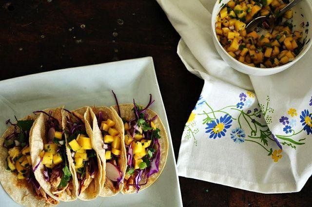 Smoky Chicken Tacos with Mango Pico de Gallo by ¡Hola! Jalapeño