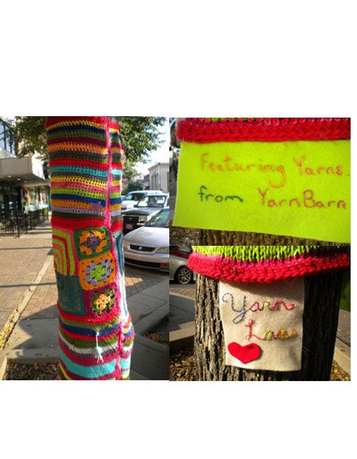 to the yarnbomber who embellished the tree in front of our store ...