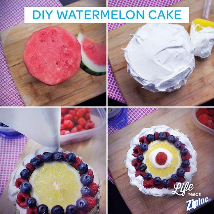 DIY Watermelon Cake - just cover with whipped topping, then cut the ...
