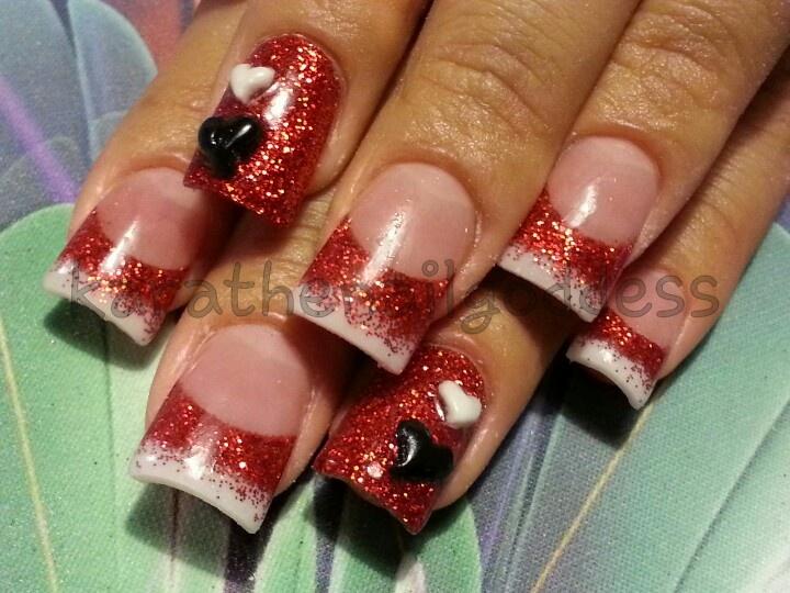 valentine acrylic nail art