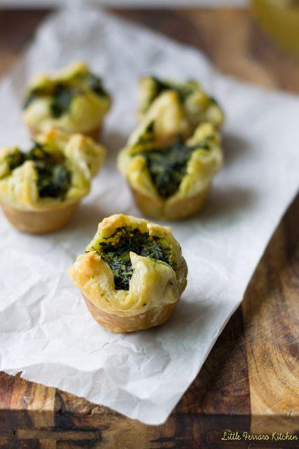 Spinach-Asparagus Mini Puff Pastry Bites via LittleFerraroKitchen.com ...