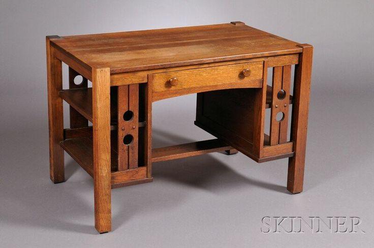 Arts crafts desk for Craftsman style desk plans