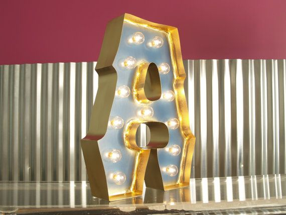 Alphabet marquee letters with gold edging and lights for Movie marquee letters
